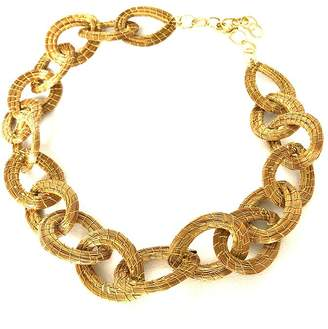 "Braziliant Lara Necklace - Woven Gold Grass - 16"" Metal Chain Clasps Design"