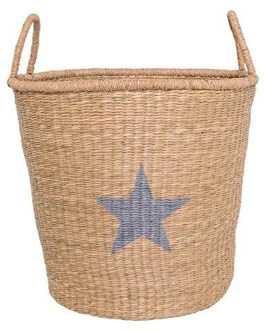 3R Studios Seagrass Basket With Handles & Star (18.5