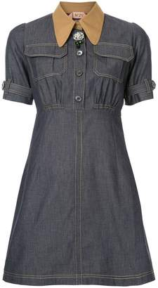 No.21 A-line denim shirt-dress