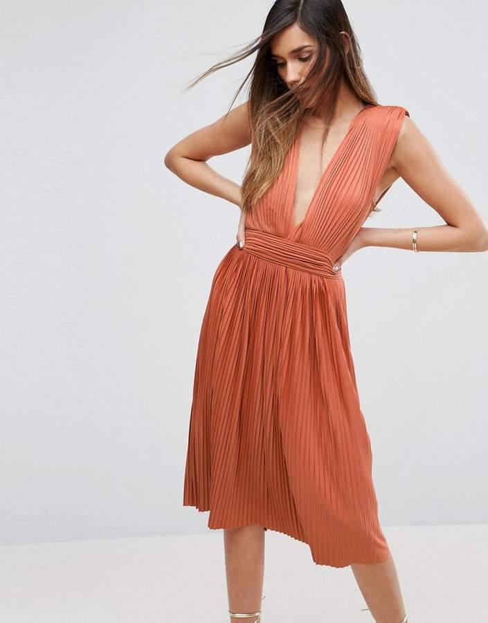 AsosASOS PREMIUM Deep Plunge Pleated Midi Dress