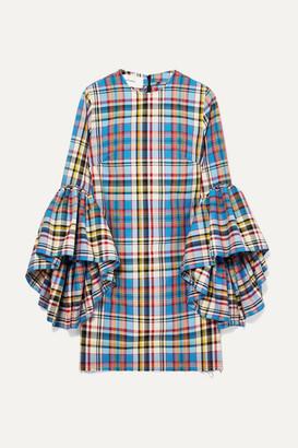 3daab5a8ea5aa0 Marques Almeida Marques  Almeida - Janis Ruffled Frayed Plaid Poplin Mini  Dress - Light blue
