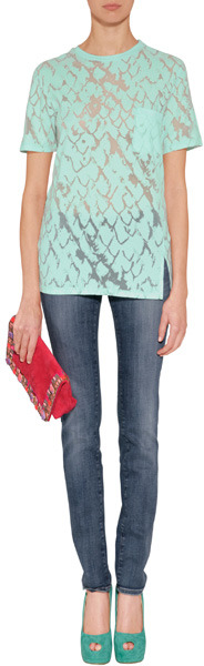 7 For All Mankind Seven The Olivya Long Beach Wave Blue Low Rise Skinny Jeans