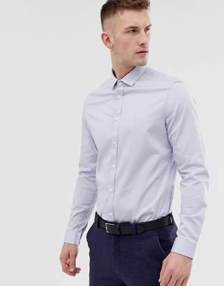 Asos DESIGN wedding slim fit sateen shirt in lt blue