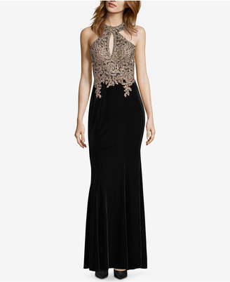 Xscape Evenings Velvet Embellished Gown