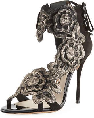 Sophia Webster Floral-Embroidered Suede Sandal
