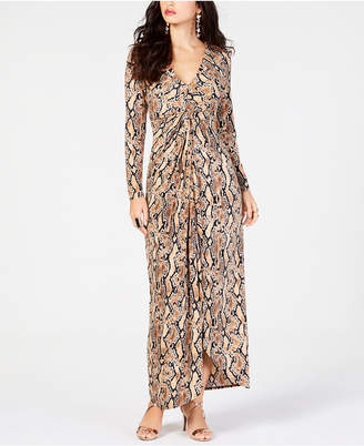Thalia Sodi Printed Draped Maxi Dress