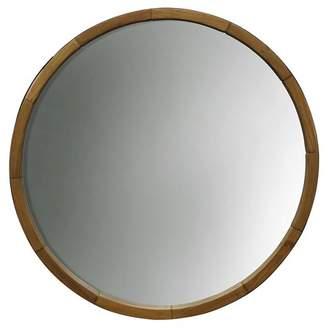Threshold Round Decorative Wall Mirror Wood Barrel Frame