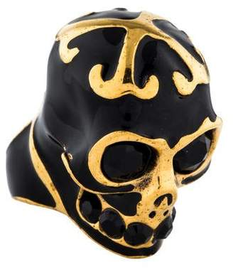 Alexander McQueen Enamel Lace Skull Cocktail Ring