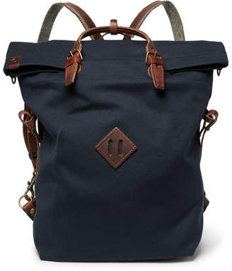 Bleu de Chauffe Convertible Leather-Trimmed Canvas Backpack