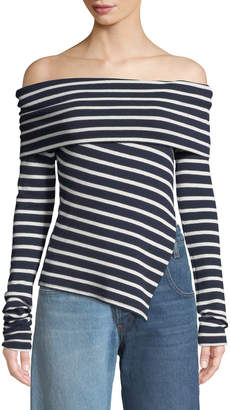 Monse Off-The-Shoulder Striped Slashed Sweater