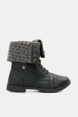 Ardene Knit-Cuffed Combat Boots