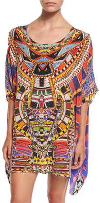 Camilla Printed Embellished Short Caftan Coverup, Rainbow Warrior $500 thestylecure.com