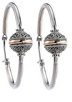 Samuel B Jewelry Sterling Silver Balinese Etched Ball Hoop Earrings