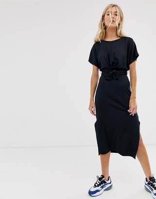 Bershka midi dress with tie waist in black