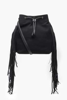 boohoo Ellie Suedette Fringe Bucket Bag