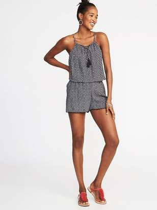 Old Navy Lace-Up Crinkle-Gauze Romper for Women