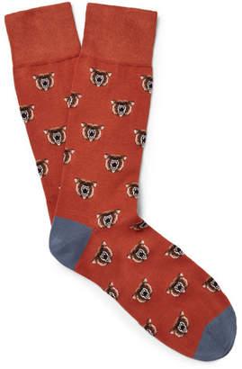 Corgi Bear-Patterned Cotton-Blend Socks
