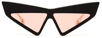 Gucci Crystal Embellished Cat Eye Sunglasses - Womens - Black Red