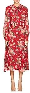 Barneys New York Women's Floral Silk Chiffon Tieneck Maxi Dress - Red
