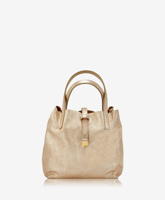 GiGi New York Reversible Mini Luna Tote, Platinum Metallic/Camel Suede