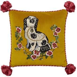 Gucci Dog Embroidered Velvet Pillow