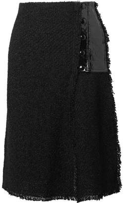 Sonia Rykiel Faux Patent Leather-paneled Bouclé Skirt - Black