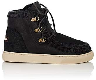 Mou Women's Shearling Lace-Up Sneakerboots