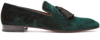 Christian Louboutin Stampato reptile-effect velvet loafers