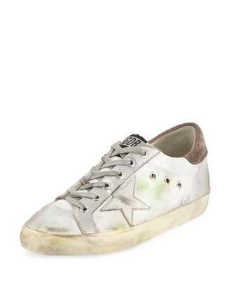 Golden Goose Superstar Fabric/Metallic Low-Top Sneaker, Silver