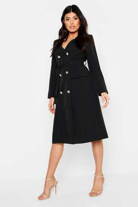 3abe183d268b boohoo Woven Military Belted Blazer Midi Dress