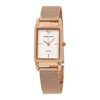 Anne Klein Women's AK/2970RGRG Diamond-Accented -Tone Mesh Bracelet Watch