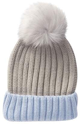 David & Young Rib Knit Beanie with Faux Fur Pompom