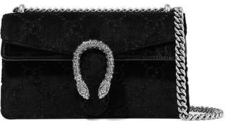 Gucci Dionysus Small Embossed Velvet And Textured-leather Shoulder Bag - Black