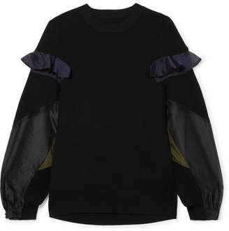 Sacai Organza-paneled Ribbed Cotton Sweater - Black