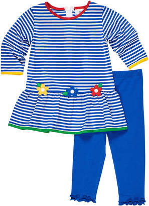 Florence Eiseman Stripe Knit Flower Applique Dress w/ Ruffle Trim Leggings, Size 12-24 Months