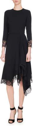 Givenchy Lace-Trim Cady Dress, Black