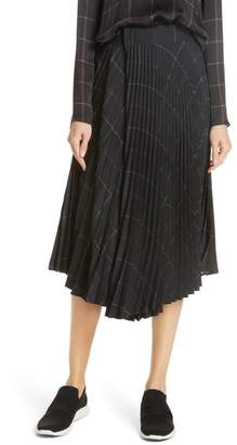 Vince Grid Plaid Draped Pleat Skirt