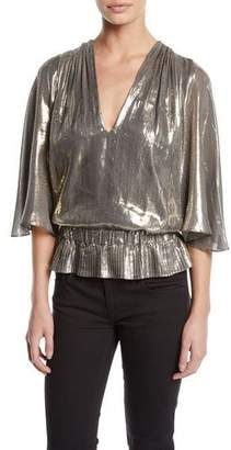 Ramy Brook Tonya Metallic Peplum Short-Sleeve Top