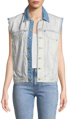 7 For All Mankind Oversize Button-Front Denim Vest