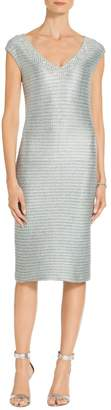 St. John Gleam Metallic Knit V-Neck Dress