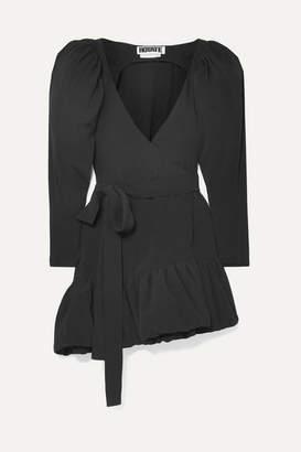 Rotate by Birger Christensen Asymmetric Crepe Wrap Mini Dress - Black