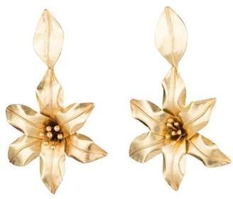 Josie Natori Brass Floral Drop Earrings