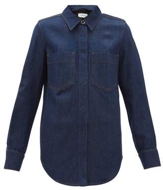 Lemaire Contrast Stitch Denim Shirt - Womens - Dark Blue