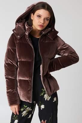 boohoo Velvet Padded Jacket Mocha