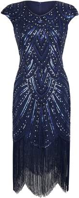 PrettyGuide Women 1920s Gastby Sequined Embellished Fringed Flapper Dress Luxury XXL
