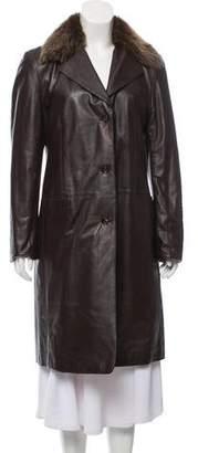 Fendi Faux Fur-Trimmed Leather Coat