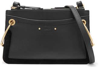 Chloé Roy Mini Leather And Suede Shoulder Bag - Black