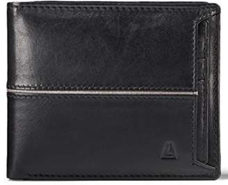 LEATHER ARCHITECT- Men's 100% Leather RFID Bi fold wallet with Removable Card holder-Black/grey