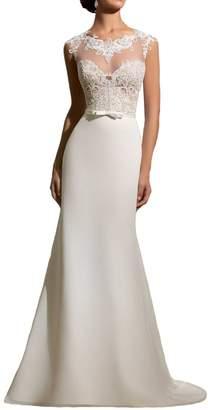 Half Flower Bridal Women's Mermaid Lace Beach Bridal Dress Simple Long Formal Wedding Dress