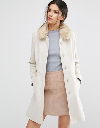 Oasis Faux Fur Collared Swing Coat $133 thestylecure.com